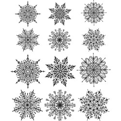 """Mini Swirley Snowflakes Tim Holtz Cling Rubber Stamp Set 7""""x8,5"""""""