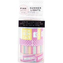 Summer Lights Mini Washi Tape 6 Pkg Pink Paislee