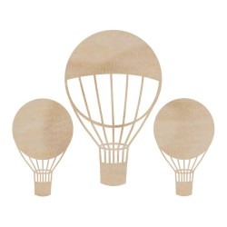 Hot Air Balloons Wooden Flourishes Pack 3 Pkg Kaisercraft