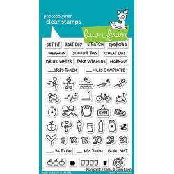 """Plan On It Clear Fitness Stamp 4""""x6"""" Lawn Fawn"""