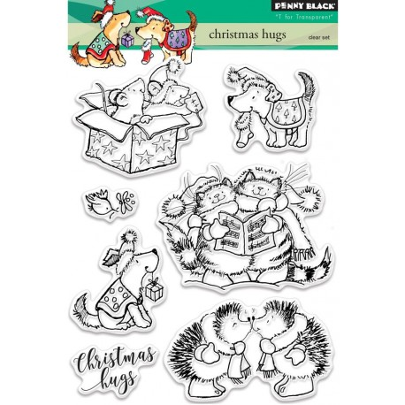 """Christmas Hugs Clear Stamps 3""""x4"""" Penny Black"""