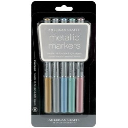 Gold Silver Blue Teal & Violwt Metallic Markers Broad Point 5 Pkg American Crafts