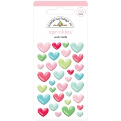 Milk & Cookies Candy Hearts Adhesive Glossy Enamel Shapes 33 Pkg Doodlebug Design