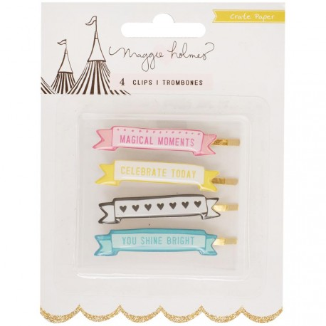 Carousel Banner Clips 4 Pkg MAggie Holmes Crate Paper
