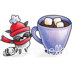 Mr. Raccoon Loves Hot Chocolate The Littles Winter Collection Cling Rubber Stamp Stamping Bella
