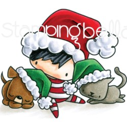 Christmas Boy With Pets The Littles Christmas Collection Cling Rubber Stamp Stamping Bella