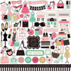 "Fashionista Cardstock Element Stickers 12""x12"" Echo Park"