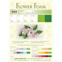 White-Green Flower Foam A4 6 Sheets Leane Creatief