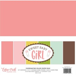 "Sweet Baby Girl Coordinating Solids Paper Pack 12""x12"" Echo Park"