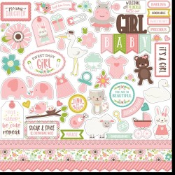 "Sweet Baby Girl Cardstock Girl Element Stickers 12""x12"" Echo Park"