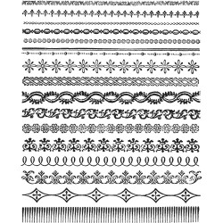 "Ornate Trims Cling Rubber Stamp Set 7""x8.5"" Tim Holtz"