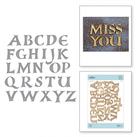 Alphabet Etched Dies On the Wings of Love Collection Shapeabilities Spellbinders