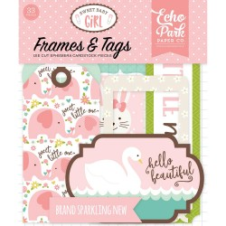 Sweet Baby Girl Ephemera Frames & Tags Die Cut Cardstock Pieces Echo Park