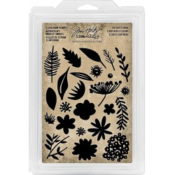 Cutout Floral Cling Foam Stamps Idea-ology Tim Holtz