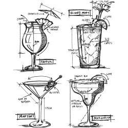 "Cocktails Blueprints Cling Rubber Stamp Set 7""x8.5"" Tim Holtz"
