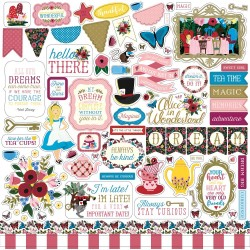 "Alice In Wonderland Element Stickers 12""x12"" Echo Park"