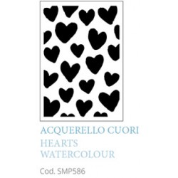Acquarello Cuori Hearts Watercolour A5 Mixed Media Stencil Tommy Art