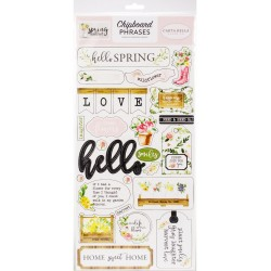 "Spring Market 6""x12"" Adhesive Chipboard Phrases Carta Bella"