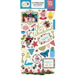 "Alice In Wonderland Adhesive Chipboard Accents 6""x12"" Echo Park"