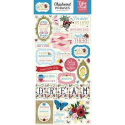 "Alice In Wonderland Adhesive Chipboard Phrases 6""x12"" Echo Park"