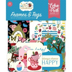 Alice in Wonderland Frames & Tags Ephemera Die Cut Cardstock Pieces Echo Park