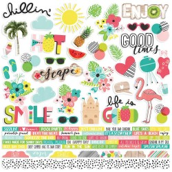 "Hello Summer Combo Cardstock Stickers 12""x12"" Simple Stories"