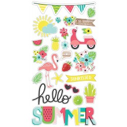 "Hello Summer Chipboard Stickers 6""x12"" Simple Stories"