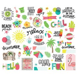 Hello Summer Ephemera Bits & Pieces Cardstock Die-Cuts 55 pcs Simple Stories