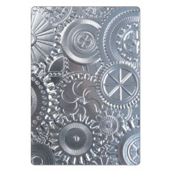 Mechanics 3-D Texture Fades A6 Embossing Folder by Tim Holtz