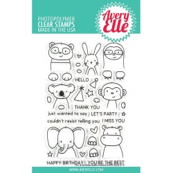 "Peek-A-Boo Pals Clear Stamp Set 4""x6"" Avery Elle"