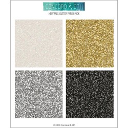 "Neutral Glitter Paper Pack 6""x6"" Concord & 9TH"