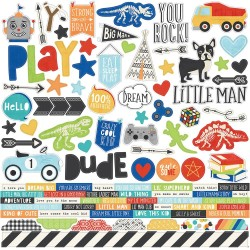 "Lil' Dude Combo Cardstock Stickers 12""x12"" Simple Stories"