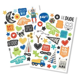 "Lil' Dude Puffy Stickers 4""x6"" Simple Stories"