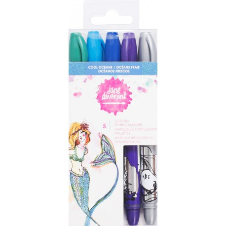 Cool Oceans Mixed Media Glitz Sea Sparkle Markers 5/Pkg by Jane Davenport American Crafts