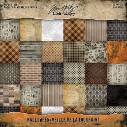 "Halloween Idea-Ology Paper Stash Double-Sided Paper Pad 8""x8"" 20/Pkg by Tim Holtz"