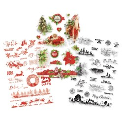 """Simple Vintage Christmas Clear Stickers 4""""x6"""" Simple Stories"""