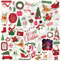 "Merry And Bright Adhesive Cardstock Element Sticker 12""x12"" Echo Park"