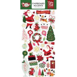 "Merry And Bright Adhesive Chipboard Accents 6""x12"" Echo Park"