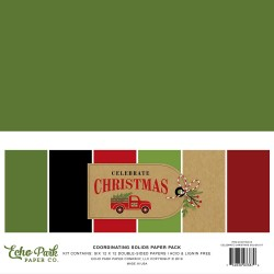 "Celebrate Christmas Coordinating Solids Paper Pack 12""x12"" Echo Park"