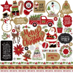"Celebrate Christmas Adhesive Cardstock Element Sticker 12""x12"" Echo Park"