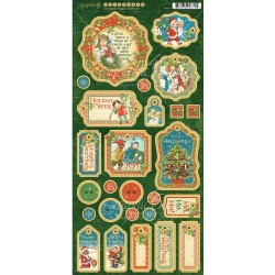 "Christmas Magic Chipboard Stickers 6""x12"" Graphic45"