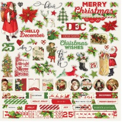 "Simple Vintage Christmas Combo Cardstock Stickers 12""x12"" Simple Stories"