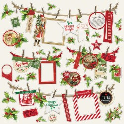 "Simple Vintage Christmas Banner Cardstock Stickers 12""x12"" Simple Stories"