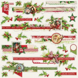 "Simple Vintage Christmas Borders Cardstock Stickers 12""x12"" Simple Stories"
