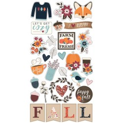 "Forever Fall Chipboard Stickers 6""x12"" Simple Stories"