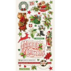"Simple Vintage Christmas Chipboard Stickers 6""x12"" Simple Stories"
