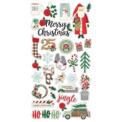 "Merry & Bright Chipboard Stickers 6""x12"" Simple Stories"