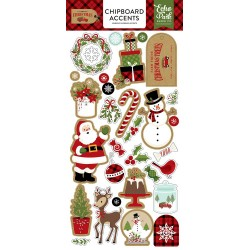 "Celebrate Christmas Adhesive Chipboard Accents 6""x12"" Echo Park"