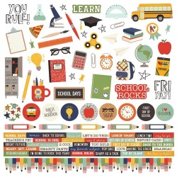 "School Rocks! Combo Cardstock Stickers 12""x12"" Simple Stories"