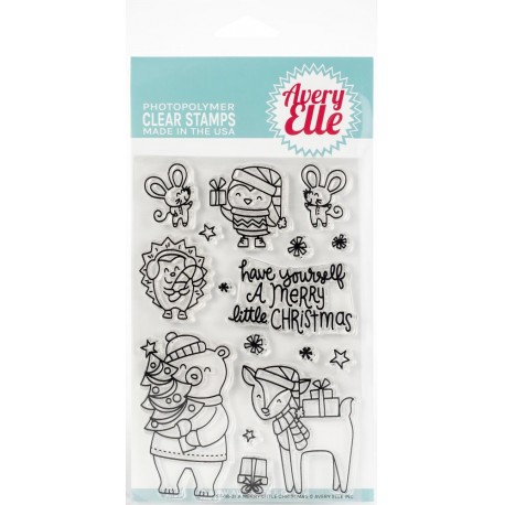 """Merry Little Christmas Clear Stamp Set 4""""x6"""" Avery Elle"""
